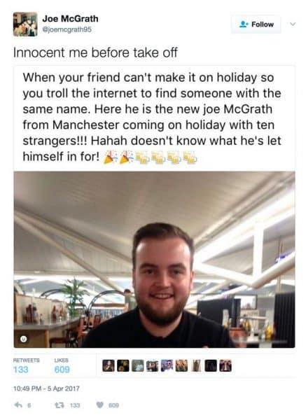 Facebook bericht van Joe McGrath