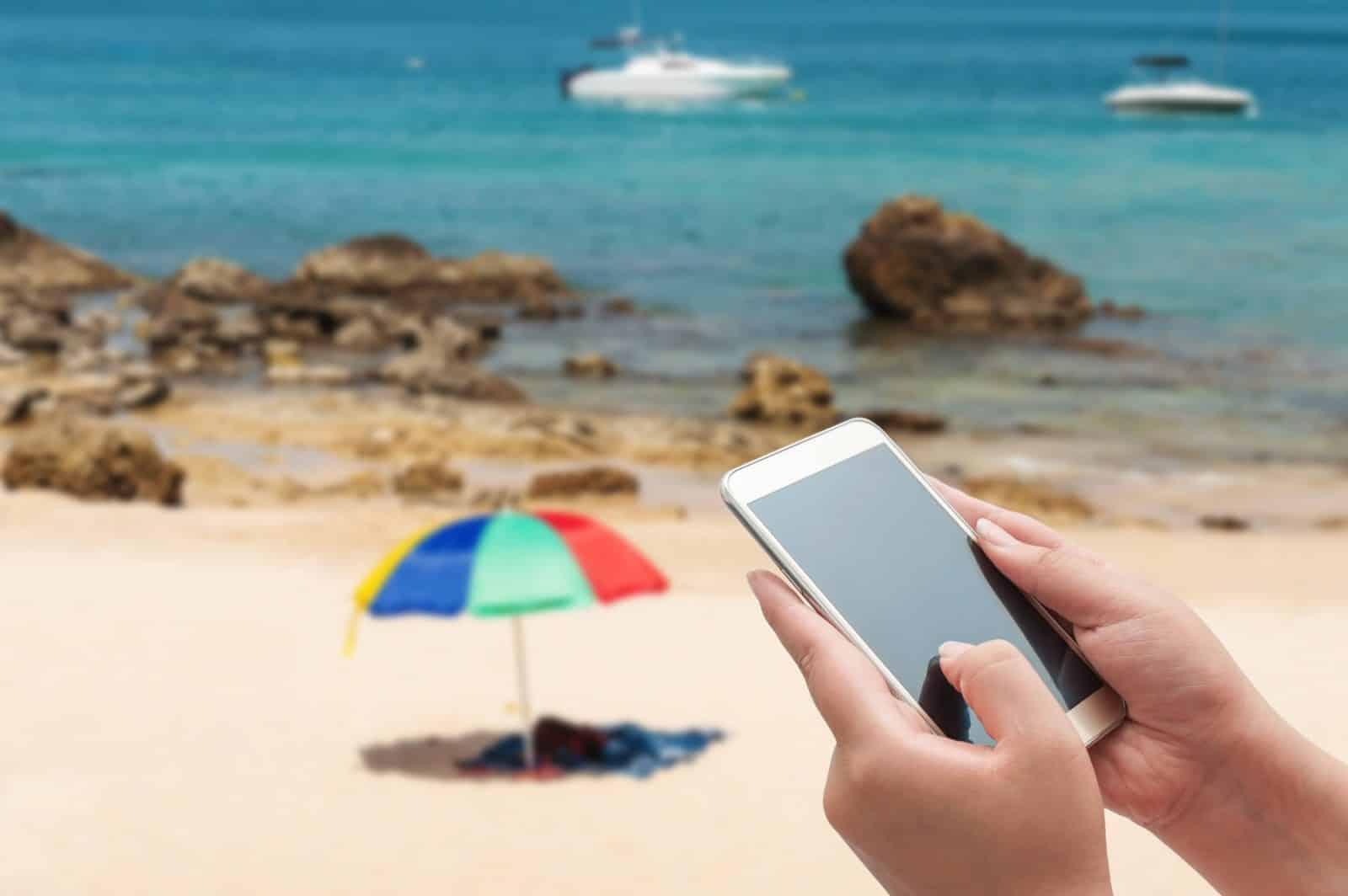 Telefoon op het strand